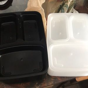 Set of 3 compartment meal prep containers